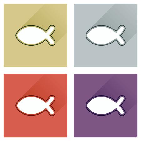 pez cristiano: Concepto de iconos planos con larga sombra, cristiano de los pescados