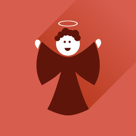angel illustration: Flat icon with long shadow, Christmas angel