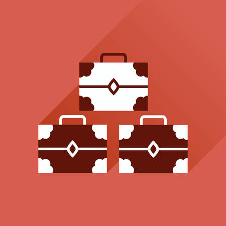 old padlock: Flat icon with long shadow, three chests Illustration