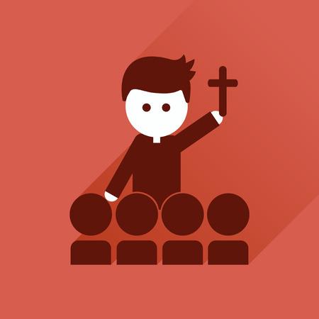 sacerdote: icono plana con una larga sombra, sacerdote católico