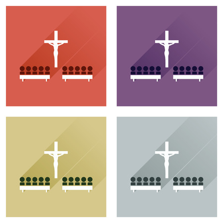 liturgy: Concept of flat icons with long shadow, People in church Illustration
