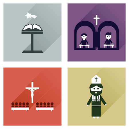 believer: Concept of flat icons with long shadow, Christianity