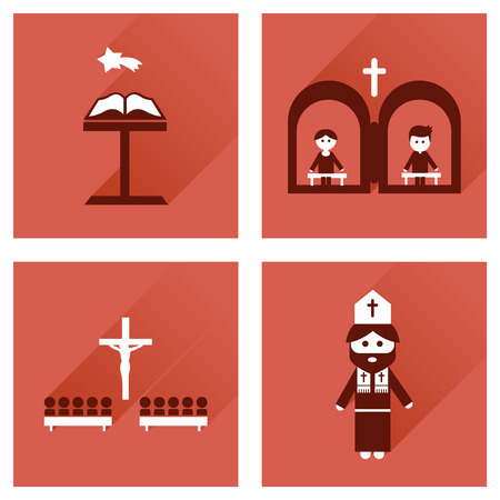 clergyman: Concept of flat icons with long shadow, Christianity