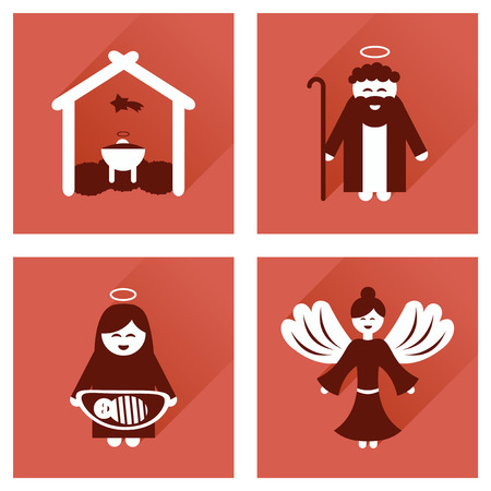 long night: Concept of flat icons with long shadow, Christmas night