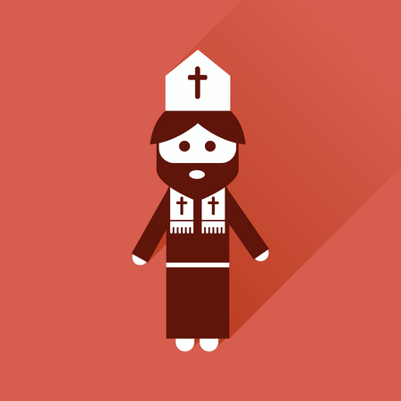 priest: Flat icon with long shadow, Christian priest