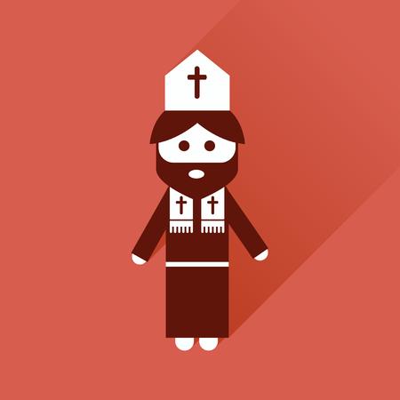 sacerdote: Icono de plano con larga sombra, sacerdote cristiano