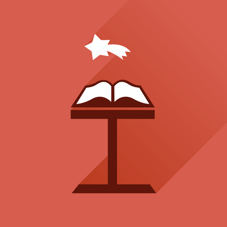 devout: Flat icon with long shadow, holy bible