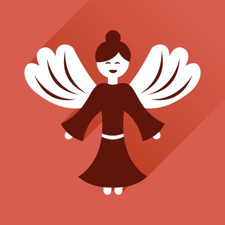 valentine cherub: Flat icon with long shadow, Christmas angel