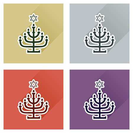 jewish faith: Concept of flat icons with long shadow, Hanukkah candle holder Illustration