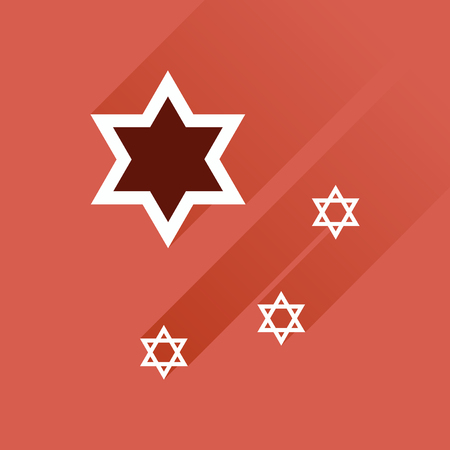 star of david: Flat icon with long shadow, Star David