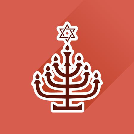 candleholder: Flat icon with long shadow, Hanukkah candleholder