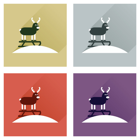 sledging: Concept of flat icons with long shadow, Reindeer sledging