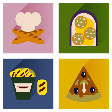 poor diet: set flat icons with long shadow, junk food