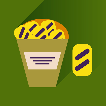 crackers: flat icon with long shadow, snack crackers Illustration