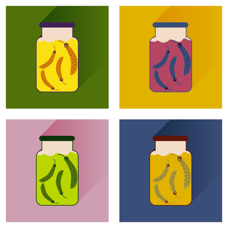 salinity: set flat icons with long shadow, canned peas