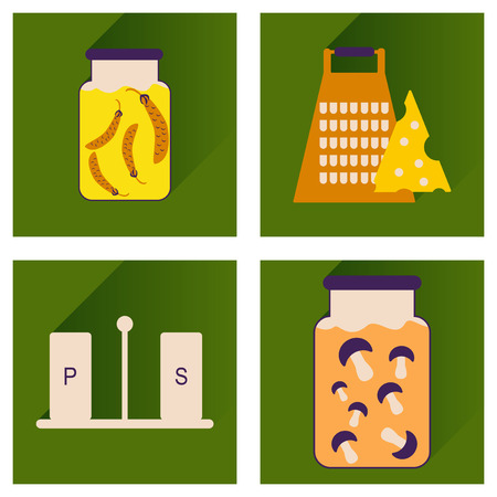 homemade: set flat icons with long shadow, homemade food