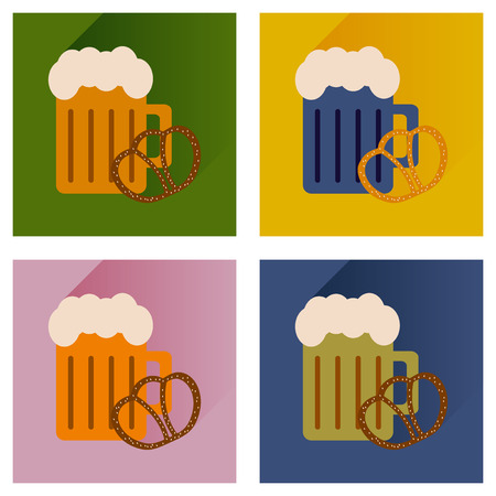 snack: set flat icons glass, beer and snack Illustration