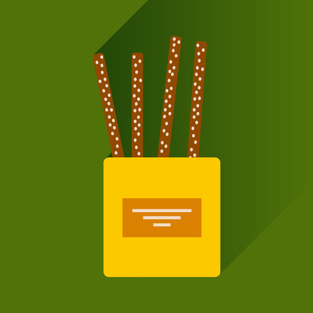 partisan: flat icon with long shadow, cheese sticks Illustration