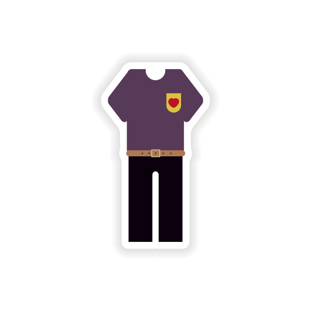 trousers: stylish paper sticker on white background, trousers and T-shirt Illustration