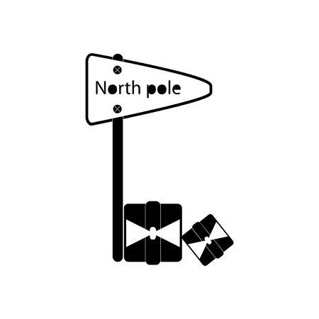frigid: flat icon in black and white style pointer North Pole Illustration