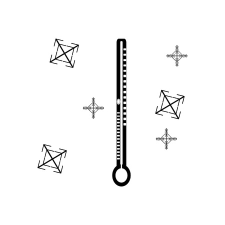 coldness: flat icon in black and white style thermometer snowflakes
