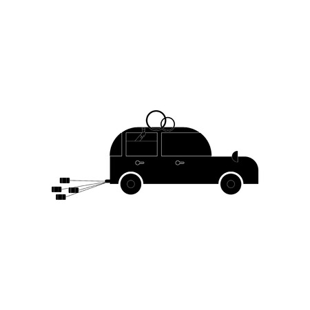 matrimony: flat icon in black and white style bride groom car
