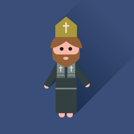 chastity: Flat icon with long shadow Christian priest