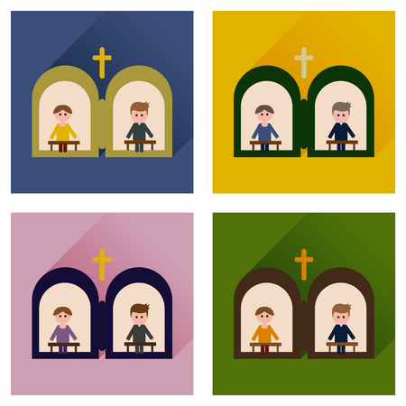 confess: Concept of flat icons with long shadow priests confession