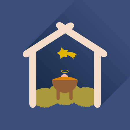 jesus birth: icono plana con larga sombra recién nacido Jesucristo