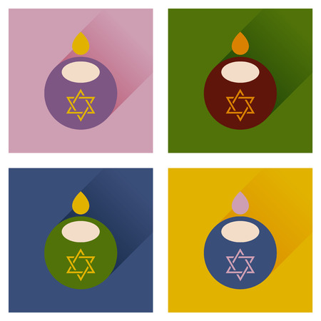 jewish faith: Concept of flat icons with long shadow Jewish candle