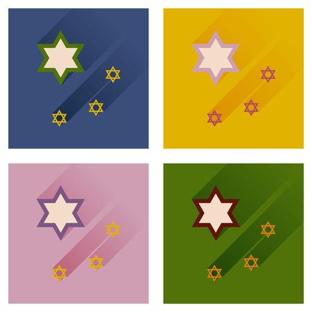 estrella de david: Concepto de iconos planos con larga sombra de la estrella de David