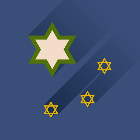 estrella de david: icono plana con una larga sombra de la estrella de David