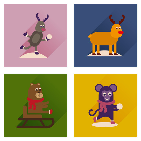 wintery: Concept of flat icons with long shadow winter animals