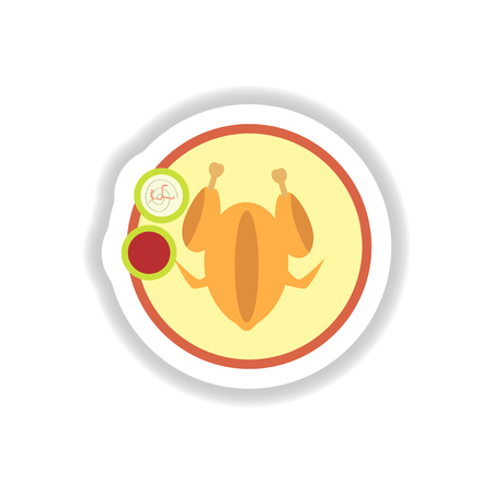 celebrate life: stylish paper sticker roasted chicken on a plate