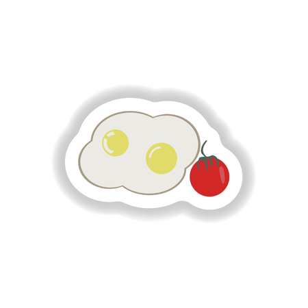 toasted sandwich: stylish paper sticker fried eggs with tomatoes