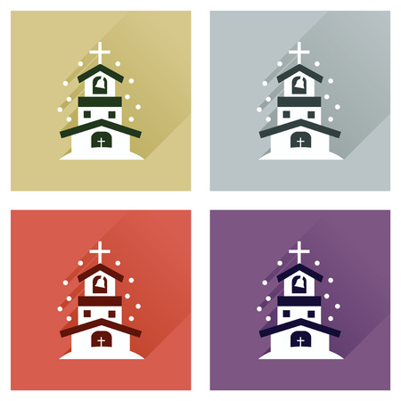 praise and worship: Concept of flat icons with long shadow Catholic church