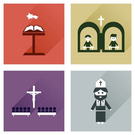 christianity: Concept of flat icons with long shadow Christianity Illustration