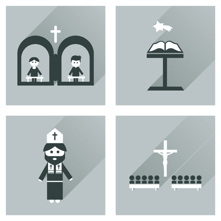 clergyman: Concept of flat icons with long shadow Christianity Illustration