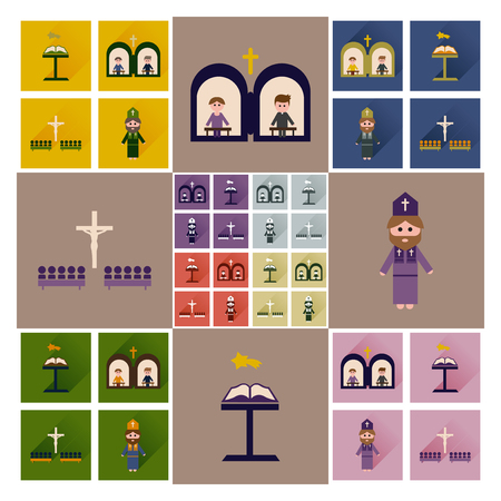 orthodoxy: Concept of flat icons with long shadow Christianity Illustration