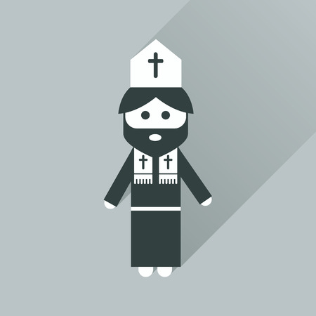 missionary: Flat icon with long shadow Christian priest