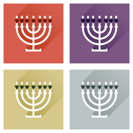 candleholder: Concept of flat icons with long shadow Hanukkah candleholder Illustration