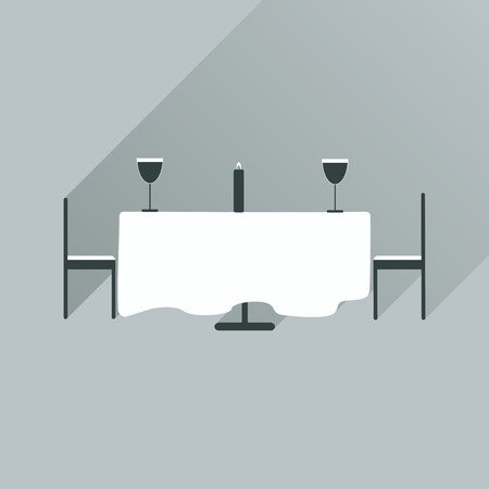 romantic dinner: Flat web icon with long shadow romantic dinner