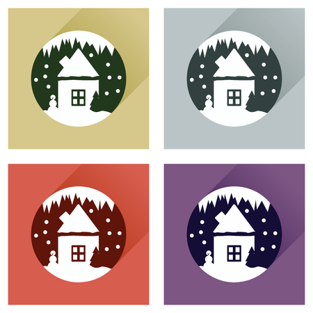 christal: Set flat web icons with long shadow house snow globe