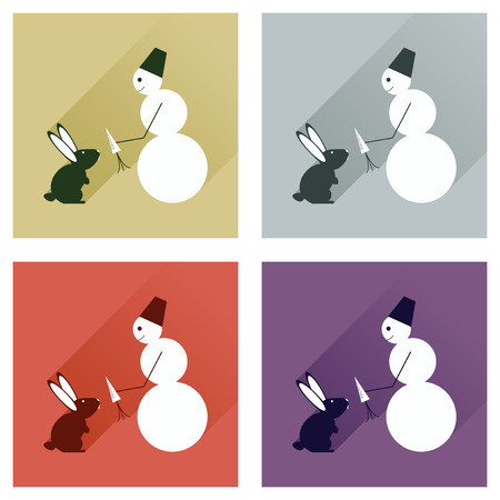 Set of flat icons with long shadow snowman and rabbit