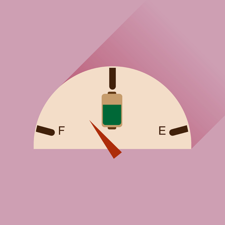 watts: Flat web icon with long shadow battery charge