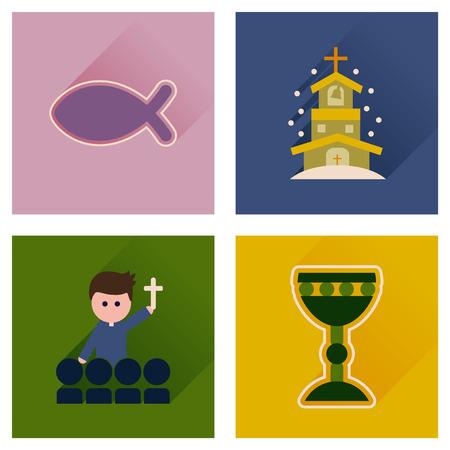 cristianismo: Concepto de iconos planos con larga sombra cristianismo