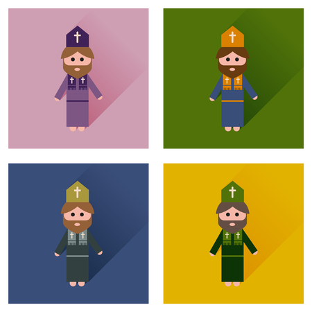 clergyman: Concept of flat icons with long shadow Christian priest Illustration