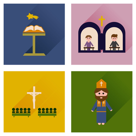 protestantism: Concept of flat icons with long shadow Christianity Illustration