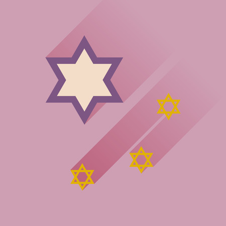 star of david: Flat icon with long shadow Star David