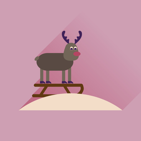 sledging: Flat icon with long shadow, Reindeer sledging Illustration